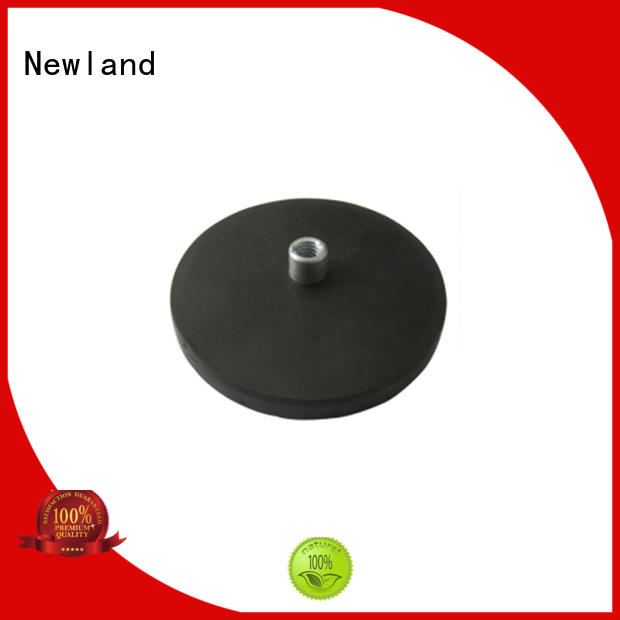 Neodymium rubber coated pot magnet with female thread