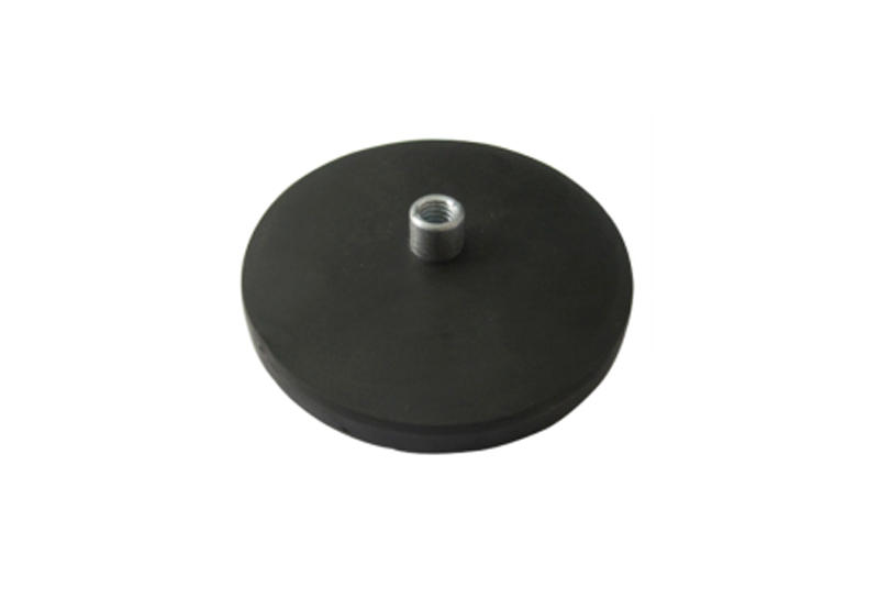 Neodymium rubber coated pot magnet with female thread-1